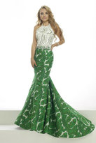 Janique - Embellished Lace Printed Mermaid Evening Gown W1717