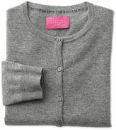 Charles Tyrwhitt Light Grey Merino Cashmere Cardigan Size 14