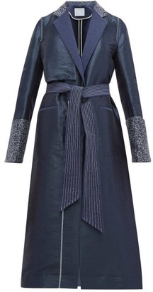 Mame Kurogouchi - Single-breasted Topstitched Contrast-trim Coat - Navy