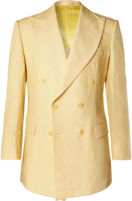 Maximilian Mogg Slim-Fit Double-Breasted Linen Suit Jacket