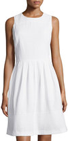 MICHAEL Michael Kors Eyelet Sleeveless Fit & Flare Dress W/Pockets, White