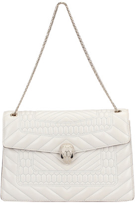 Bvlgari White Quilted Leather Serpenti Forever Flap Bag