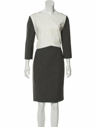 Narciso Rodriguez Colorblock Pattern Knee-Length Dress Grey