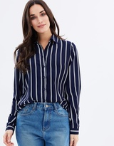 Forcast Ava Striped Button Up Shirt