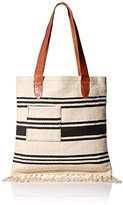 Ale By Alessandra 'Ale By Alessandra Women's Saratoga Cotton Rug Bag with Leather Handles