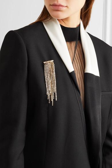 Lanvin Fringed Gold-tone Crystal Brooch