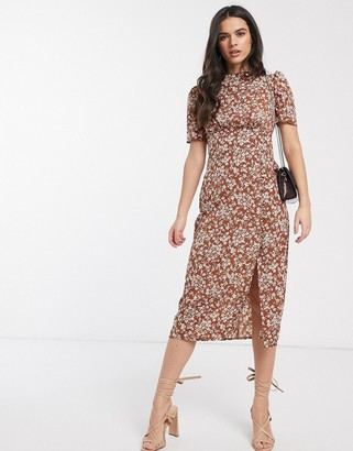 ASOS DESIGN midi tea dress with buttons in floral print