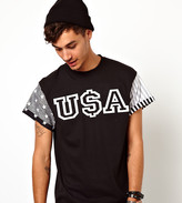 Reclaimed Vintage T-Shirt With Usa Sleeves