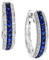 Effy 14K White Gold and Sapphire Hoop Earrings with 0.24 TCW Diamonds
