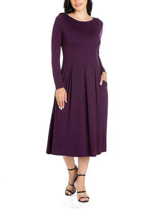24/7 Comfort Apparel Long Sleeve Midi Fit & Flare Dress