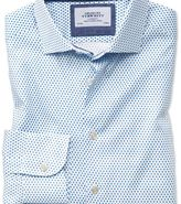 Charles Tyrwhitt Classic fit semi-cutaway business casual diamond print white and blue shirt