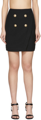 Balmain Black 4-Button Wrap Skirt