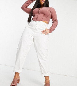 ASOS DESIGN Curve high rise 'original' mom jeans in off white