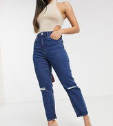 Asos DESIGN Petite Farleigh high waisted slim mom jeans with rips in French workwear blue wash