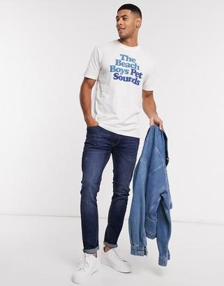 Selected beach print o-neck t-shirt