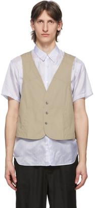Comme des Garçons Shirt Beige Poplin Workstitch Vest