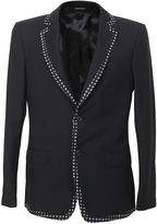 Alexander McQueen Black Wool And Silk Blazer With Contrasting Edges