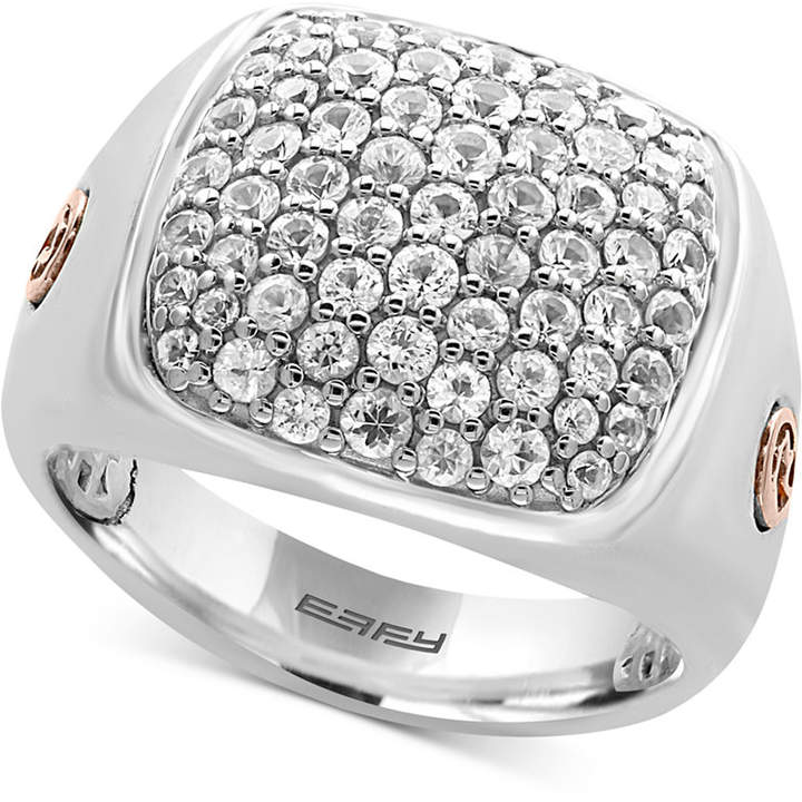 Effy Men's White Sapphire Cluster Ring (2 ct. t.w.) in Sterling Silver and 18k Rose Gold