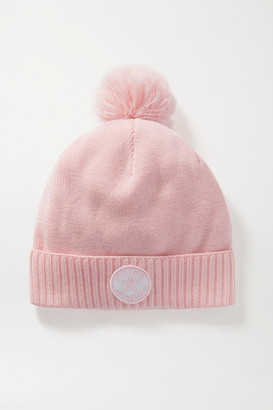 Perfect Moment Pompom-embellished Merino Wool-blend Beanie - Pink