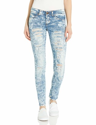 V.I.P.JEANS Junior's Washed Ripped Torn Distressed Cuffed Skinny Denim Pants