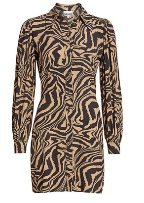 Ganni Zebra Print Crepe Mini Shirtdress