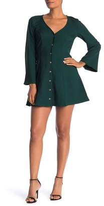 Love, Nickie Lew Button Front Long Sleeve Dress