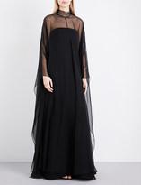 Valentino Cape-back silk-chiffon gown