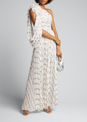 J. Mendel Pleated Draped One-Shoulder Gown