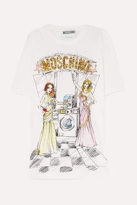 Moschino Oversized Embellished Printed Cotton-jersey T-shirt - White