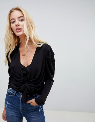 Asos DESIGN knot front blouse with ruched sleeve detail