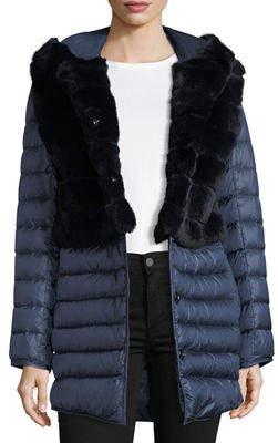 Gorski Rabbit Fur Stroller Coat w/ Removable Down Skirt & Sleeves