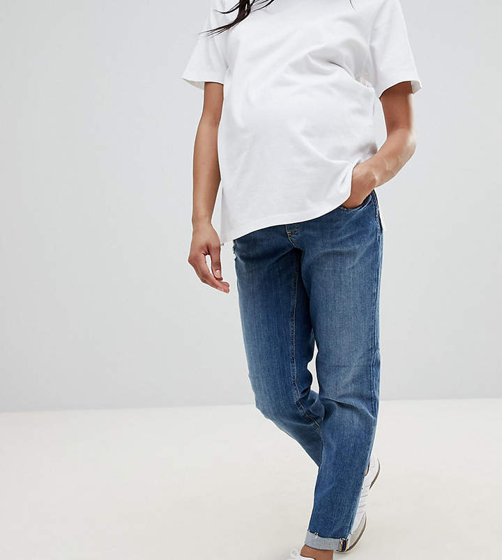 Asos KIMMI Shrunken Boyfriend Jeans in Clover Mid Stonewash with Raw Hem Turn-Up With Over The Bump Waistband