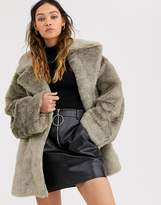 Weekday tabitha faux fur coat in gray