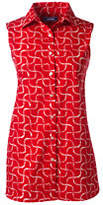 Lands' End Women's Petite Sleeveless No Iron Shirt-White Paisley