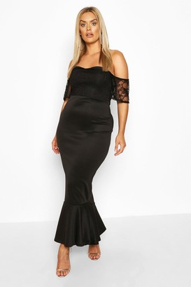 boohoo Plus Lace Off The Shoulder Fishtail Maxi Dress