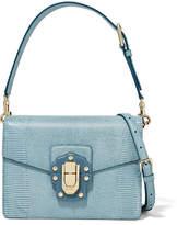 Dolce & Gabbana Lucia Lizard-effect Leather Shoulder Bag - Light blue