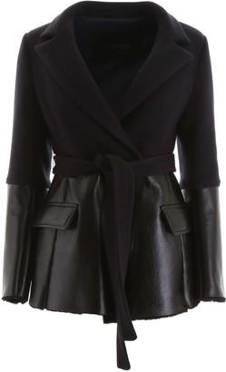 BLANCHA WOOL AND SHEARLING JACKET 40 Blue, Black Wool, Leather, Fur