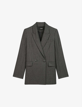Maje Visland striped double-breasted wool and cashmere-blend blazer