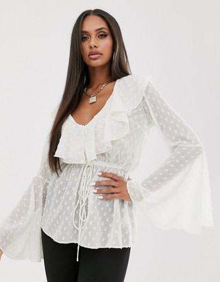 Asos Design DESIGN long sleeve sheer top with lace up detail in metallic dobby-White
