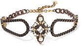 Erickson Beamon The Affair Gold-plated, Swarovski Crystal And Faux Pearl Necklace - Bronze
