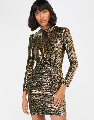 Monsoon Tory Leopard Sequin Short Dress