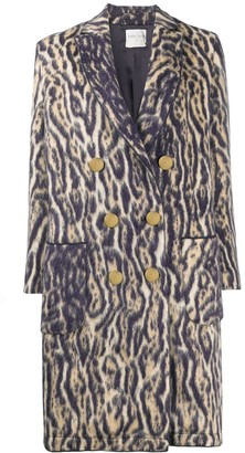 Forte Forte Tiger Print Double-Breasted Coat