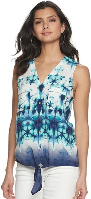 Rock & Republic Women's Knot-Hem Sleeveless Button-Down Shirt