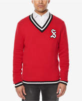 Sean John Men's Embroidered-Logo V-Neck Varsity Sweater, Created for Macy's