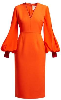 Roksanda Essi Silk Bell Sleeved Crepe Midi Dress - Womens - Red