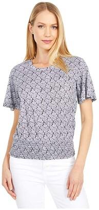 MICHAEL Michael Kors Paisley Smock Waist Top (Black/White) Women's Clothing
