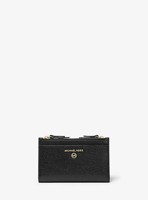 MICHAEL Michael Kors MK Small Pebbled Leather Double Zip Card Case - Black - Michael Kors