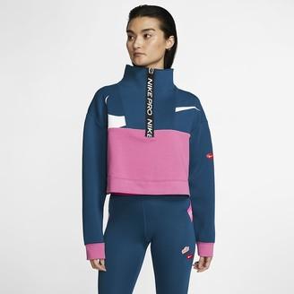 Nike Women's Fleece 1/2-Zip Jacket Pro Get Fit Icon Clash