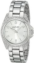 August Steiner Women's AS8149SS Silver Quartz Crystal Accented Watch with Silver Dial and Silver Bracelet