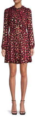 Saloni Tilly Ruffled Leopard Print Dress